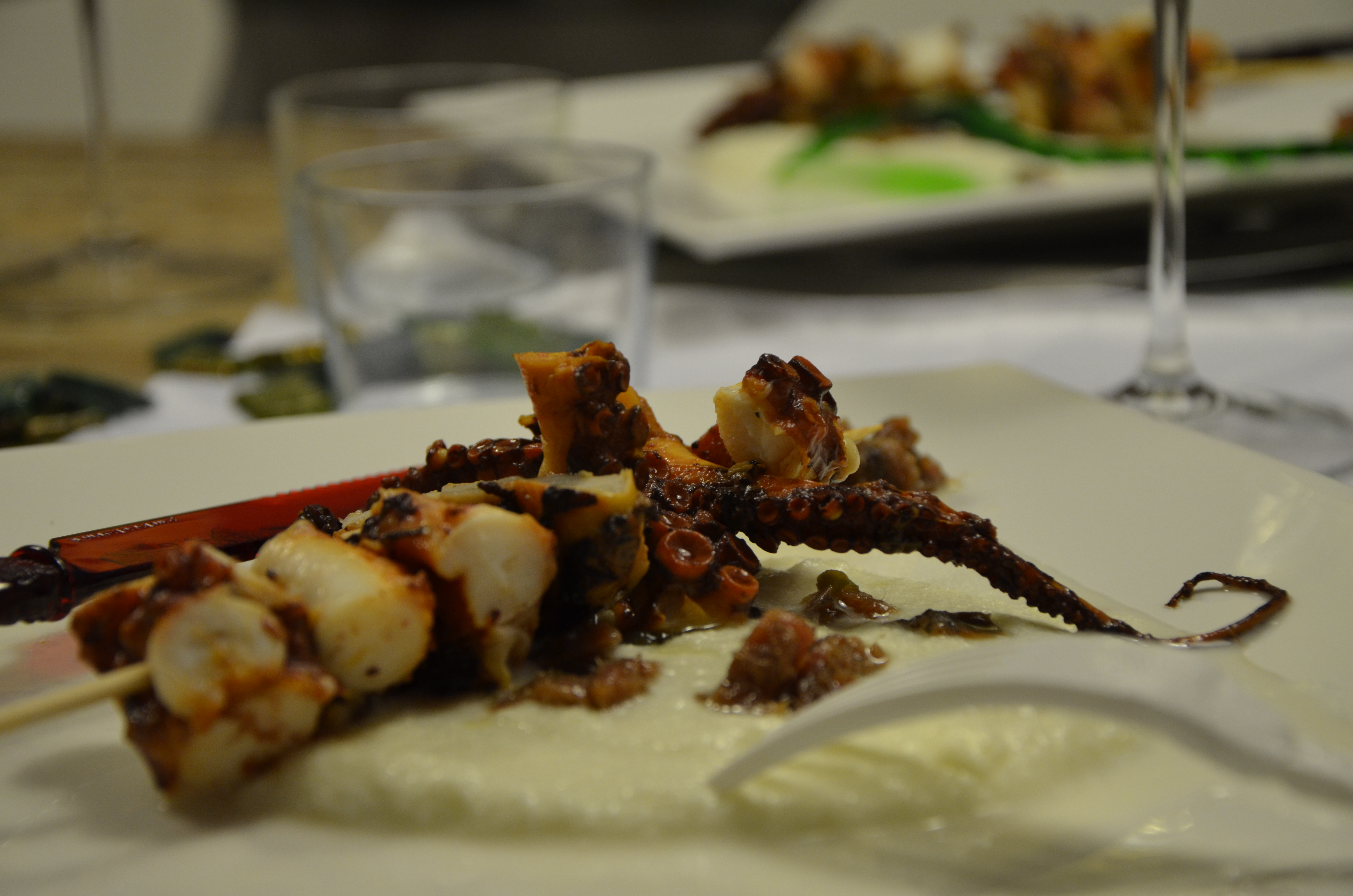 Octopus and bufala and anchovies sauce