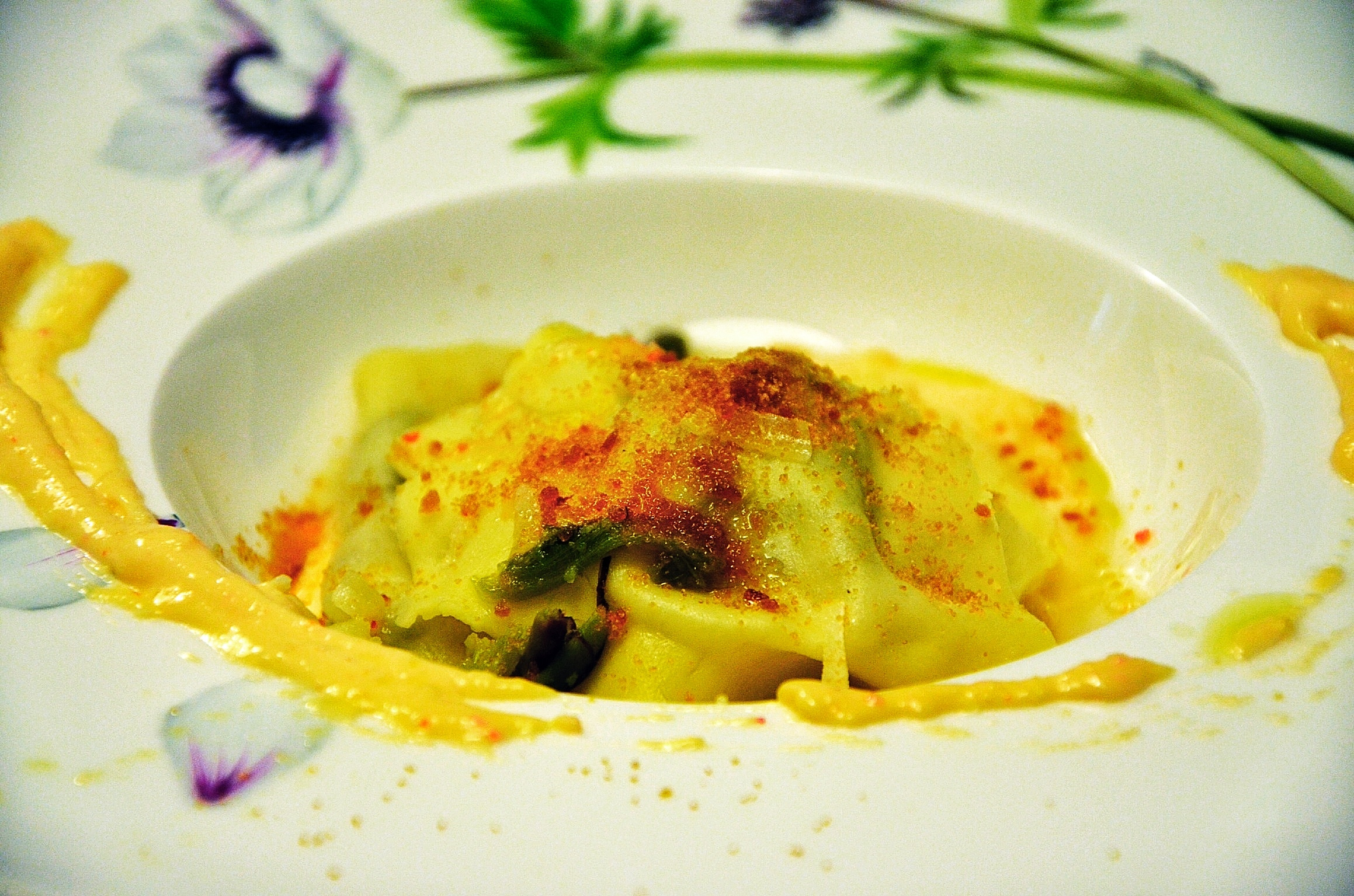 Wild asparagus ravioli with fish eggs